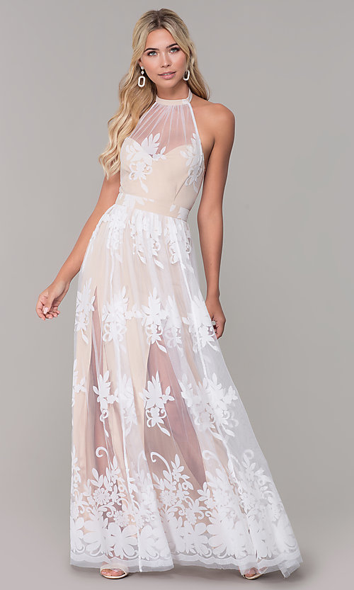 Image of high-neck halter white and nude long prom dress. Style: LUX-PL-LD5352 Detail Image 3