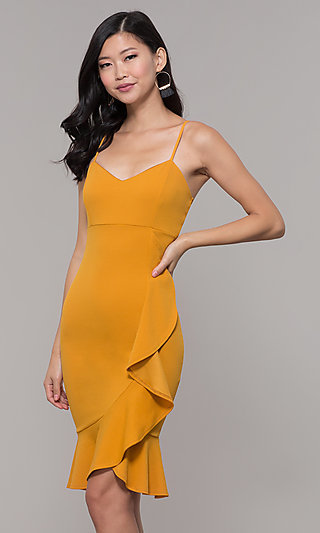 Mustard Yellow Knee-Length Wedding-Guest Dress