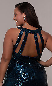 Image of plus-size long sequin formal prom dress. Style: MO-12474WM Detail Image 2