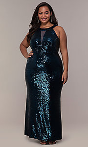 Image of plus-size long sequin formal prom dress. Style: MO-12474WM Detail Image 3