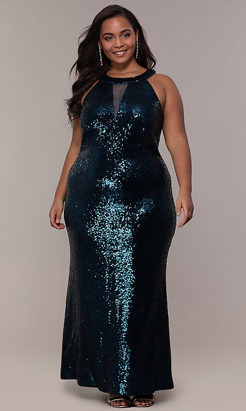 Plus-Size Long Sequin Prom Dress with Illusion Inset