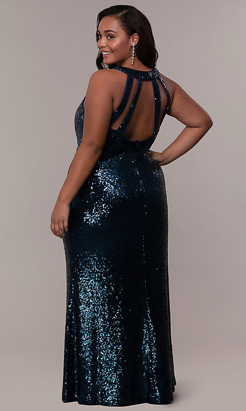 Image of plus-size long sequin formal prom dress. Style: MO-12474WM Back Image