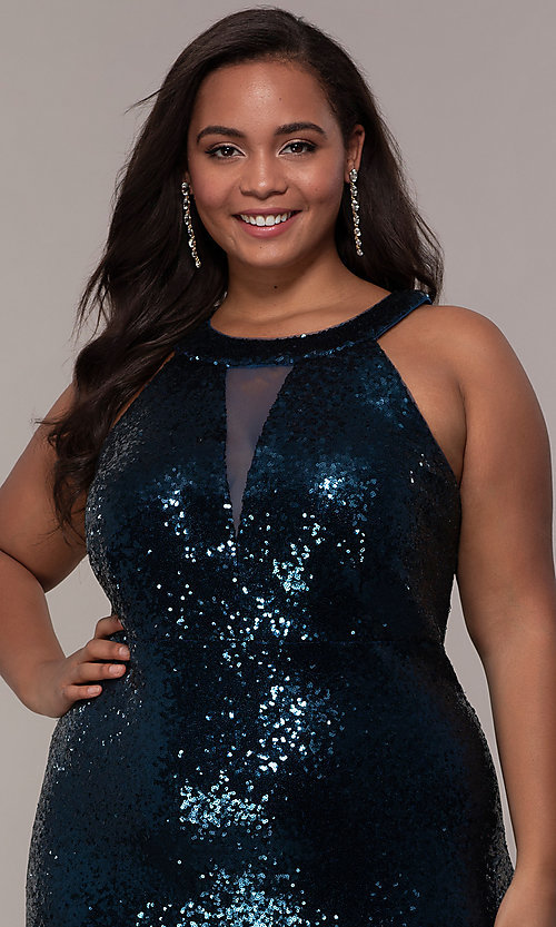 Image of plus-size long sequin formal prom dress. Style: MO-12474WM Detail Image 1