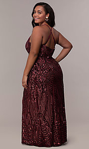 Image of art-deco-inspired plus-size sequin long formal dress. Style: MO-21576WM Back Image