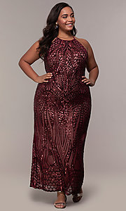 Image of art-deco-inspired plus-size sequin long formal dress. Style: MO-21576WM Detail Image 3
