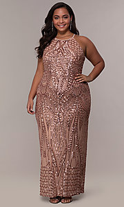 Image of art-deco-inspired plus-size sequin long formal dress. Style: MO-21576WM Detail Image 4