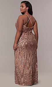 Image of art-deco-inspired plus-size sequin long formal dress. Style: MO-21576WM Detail Image 5