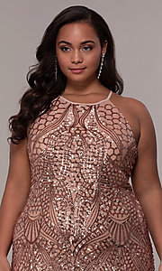 Image of art-deco-inspired plus-size sequin long formal dress. Style: MO-21576WM Detail Image 6