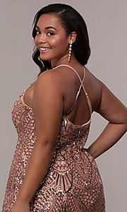 Image of art-deco-inspired plus-size sequin long formal dress. Style: MO-21576WM Detail Image 7