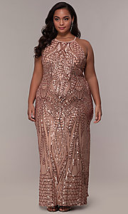 Image of art-deco-inspired plus-size sequin long formal dress. Style: MO-21576WM Detail Image 8