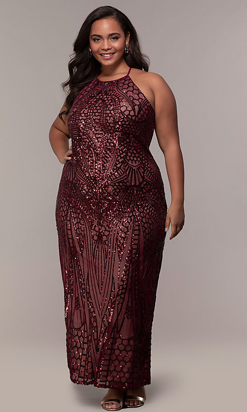 Image of art-deco-inspired plus-size sequin long formal dress. Style: MO-21576WM Front Image
