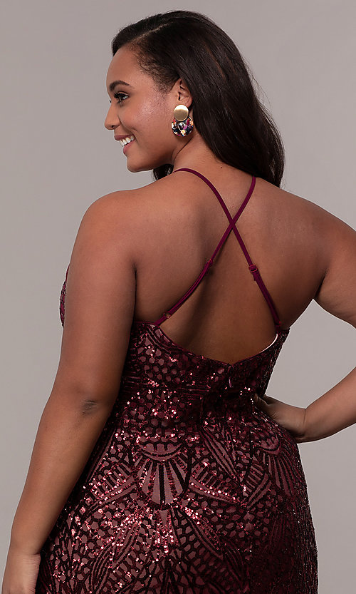 Image of art-deco-inspired plus-size sequin long formal dress. Style: MO-21576WM Detail Image 2