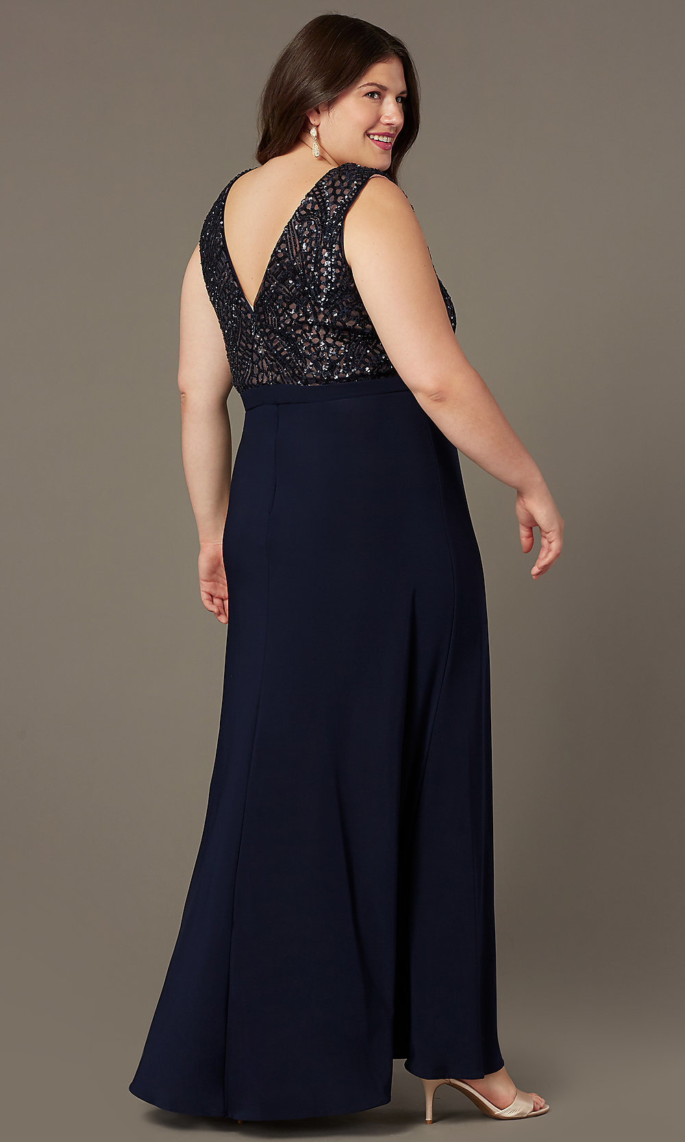 Plus-Size Long Sequin-Bodice Formal Prom Dress