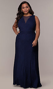 Image of plus-size long glitter-knit formal dress. Style: MO-21712W Front Image
