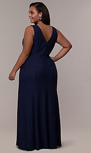 Image of plus-size long glitter-knit formal dress. Style: MO-21712W Back Image