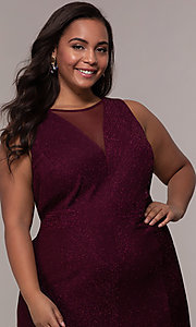Image of plus-size long glitter-knit formal dress. Style: MO-21712W Detail Image 6