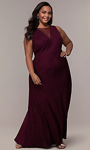 Image of plus-size long glitter-knit formal dress. Style: MO-21712W Detail Image 8