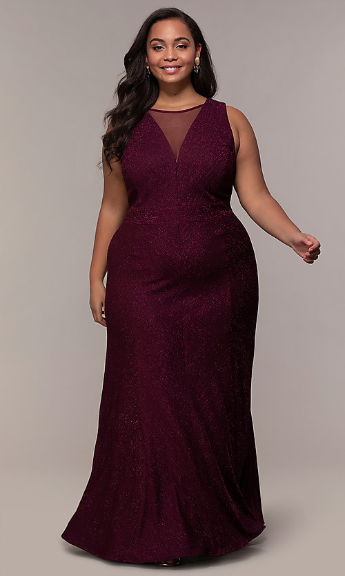 Plus-Size Glitter-Knit Long Formal Dress