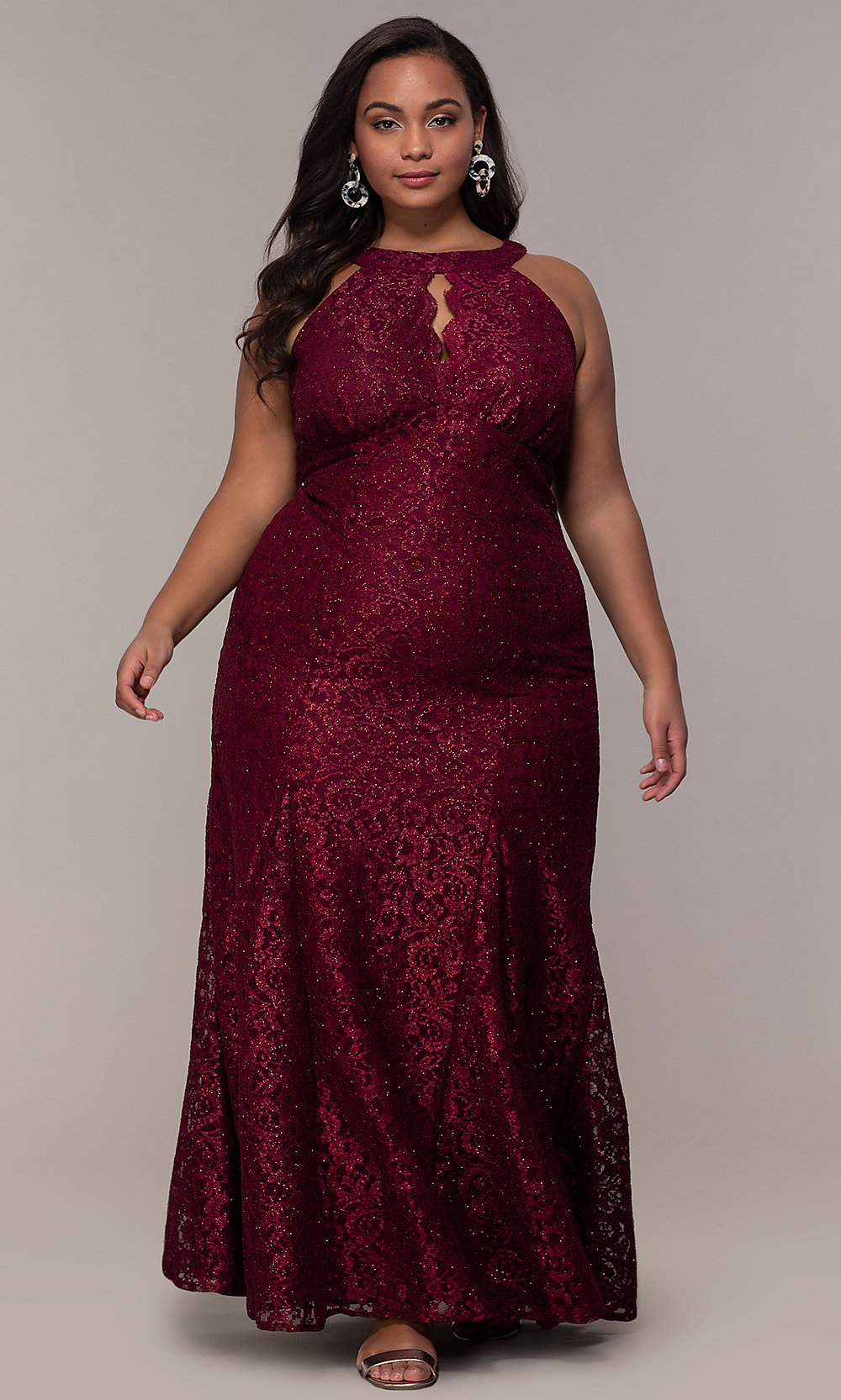 Long Plus-Size Empire-Waist Lace Formal Prom Dress