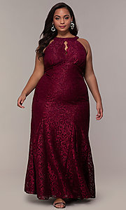 Image of long plus-size empire-waist lace formal prom dress. Style: MO-21713W Front Image