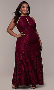 Image of long plus-size empire-waist lace formal prom dress. Style: MO-21713W Detail Image 3