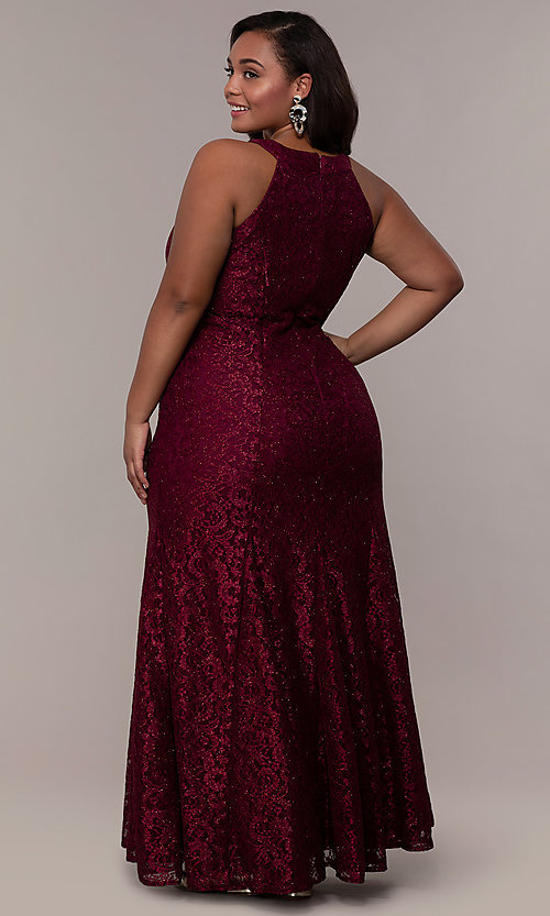 Image of long plus-size empire-waist lace formal prom dress. Style: MO-21713W Back Image