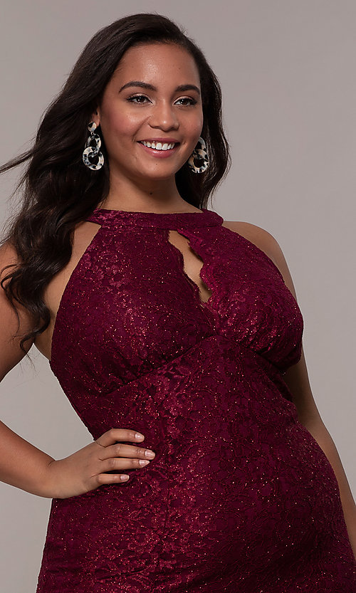 Image of long plus-size empire-waist lace formal prom dress. Style: MO-21713W Detail Image 1