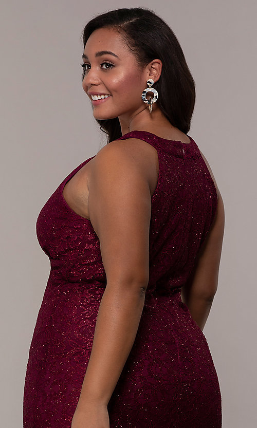 Image of long plus-size empire-waist lace formal prom dress. Style: MO-21713W Detail Image 2