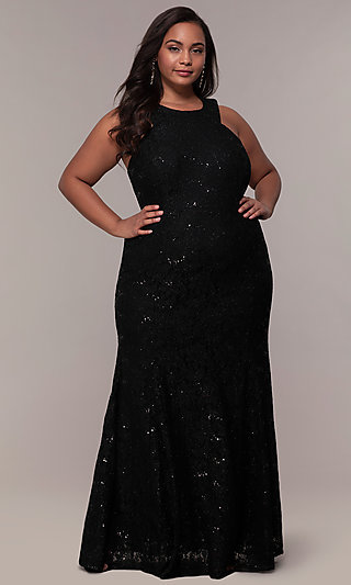 Strappy Back Plus-Size Glitter Lace Prom Dress