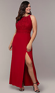 Image of lace-bodice long plus-size formal prom dress. Style: MO-21799W Front Image