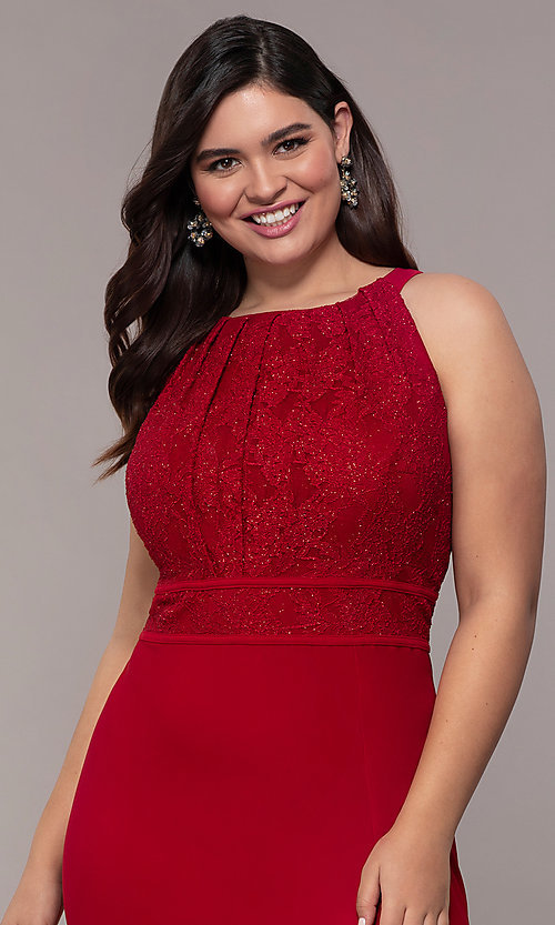Image of lace-bodice long plus-size formal prom dress. Style: MO-21799W Detail Image 1