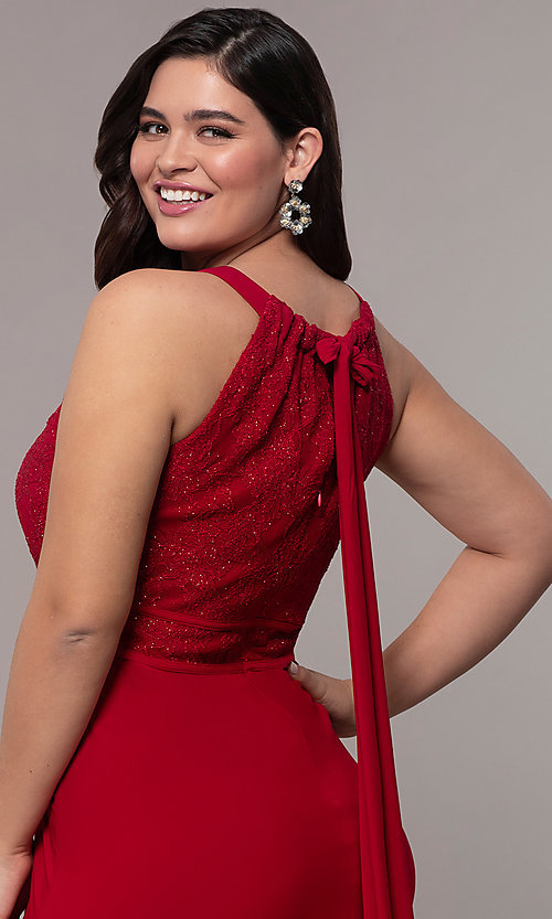 Image of lace-bodice long plus-size formal prom dress. Style: MO-21799W Detail Image 2