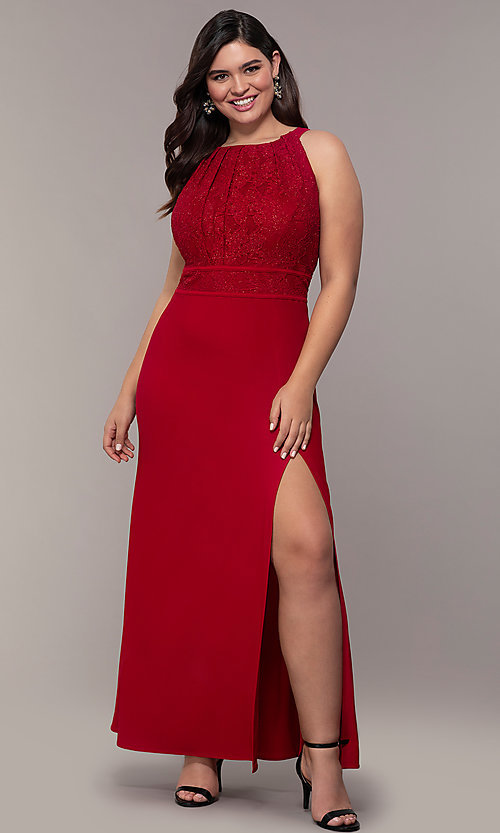 Image of lace-bodice long plus-size formal prom dress. Style: MO-21799W Detail Image 3