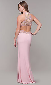 Image of high-neck long formal prom dress with beaded bodice. Style: FB-PL-GL2282 Back Image