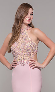 Image of high-neck long formal prom dress with beaded bodice. Style: FB-PL-GL2282 Detail Image 6