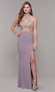 Image of high-neck long formal prom dress with beaded bodice. Style: FB-PL-GL2282 Front Image