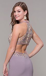 Image of high-neck long formal prom dress with beaded bodice. Style: FB-PL-GL2282 Detail Image 2