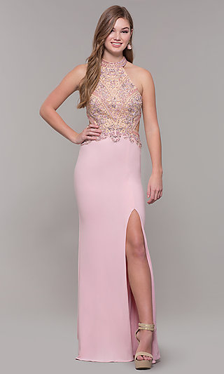 High-Neck Long Formal Prom Dress with Beaded Bodice