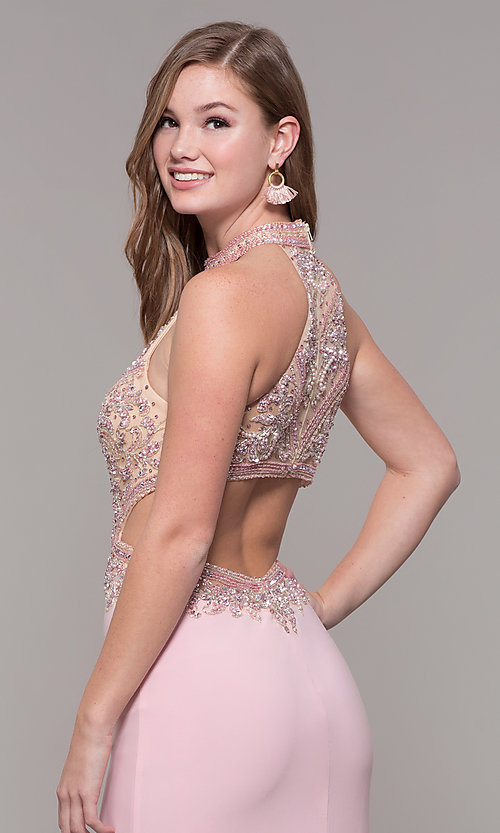 Image of high-neck long formal prom dress with beaded bodice. Style: FB-PL-GL2282 Detail Image 7