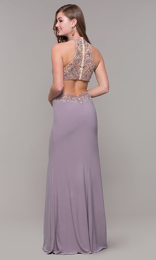 Image of high-neck long formal prom dress with beaded bodice. Style: FB-PL-GL2282 Detail Image 5