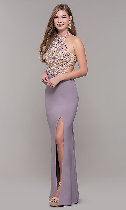 Image of high-neck long formal prom dress with beaded bodice. Style: FB-PL-GL2282 Detail Image 3
