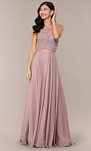 Image of sheer-waist beaded-bodice long chiffon prom dress. Style: DQ-PL-2734 Front Image