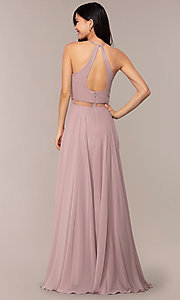 Image of sheer-waist beaded-bodice long chiffon prom dress. Style: DQ-PL-2734 Back Image