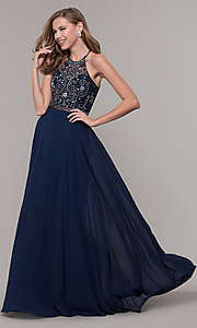Image of sheer-waist beaded-bodice long chiffon prom dress. Style: DQ-PL-2734 Detail Image 4