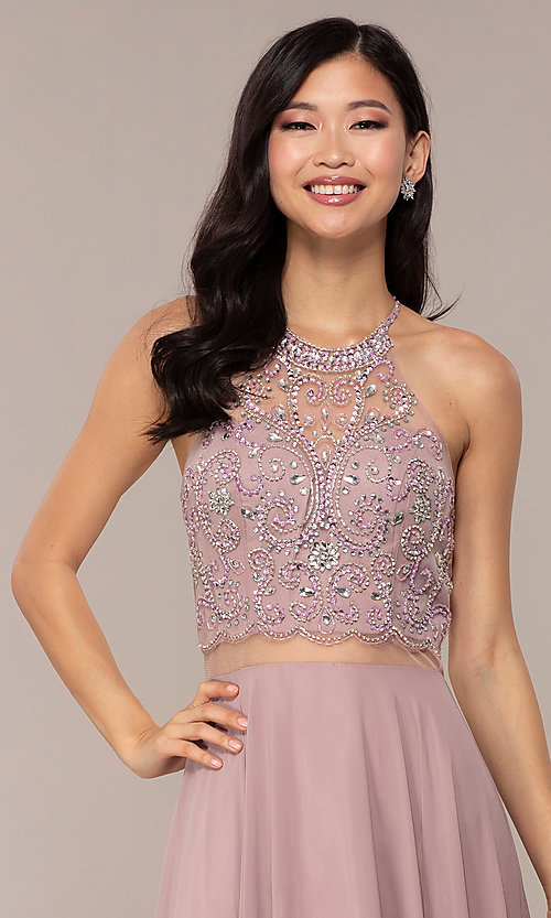 Image of sheer-waist beaded-bodice long chiffon prom dress. Style: DQ-PL-2734 Detail Image 1