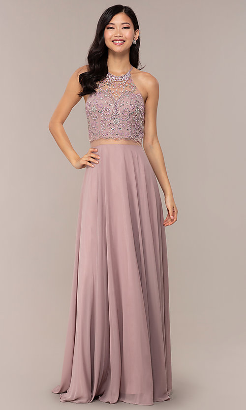 Image of sheer-waist beaded-bodice long chiffon prom dress. Style: DQ-PL-2734 Detail Image 3