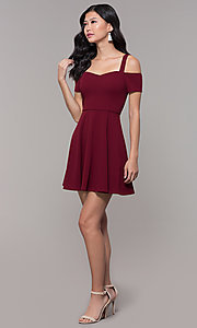 Image of short jersey cold-shoulder holiday dress by Simply. Style: MCR-SD-2529 Detail Image 3