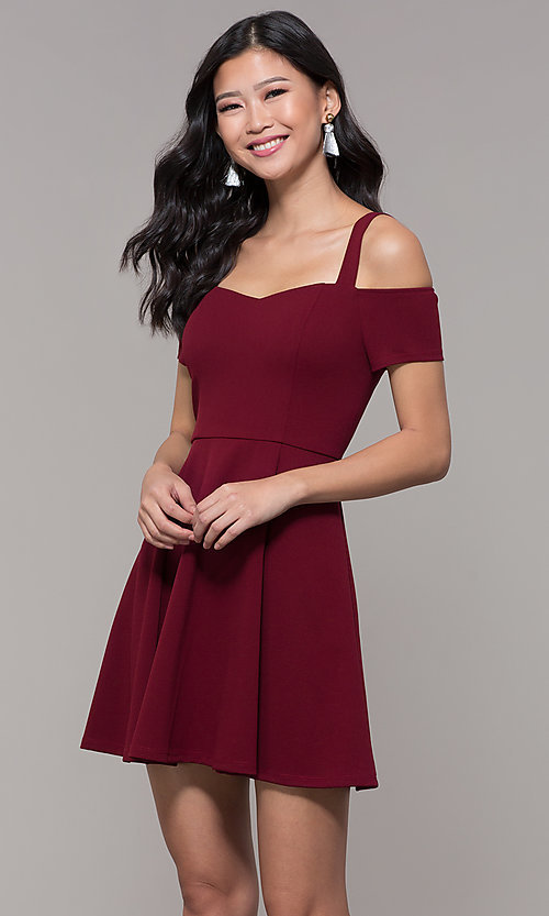Image of short jersey cold-shoulder holiday dress by Simply. Style: MCR-SD-2529 Front Image