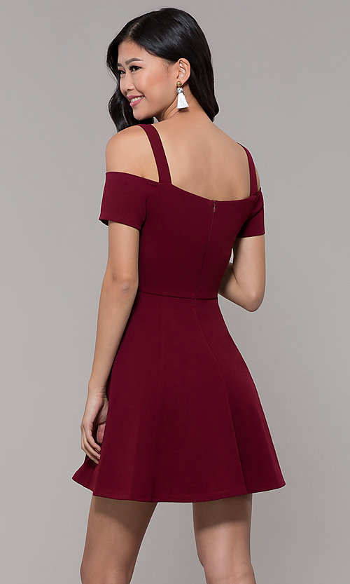 Image of short jersey cold-shoulder holiday dress by Simply. Style: MCR-SD-2529 Back Image