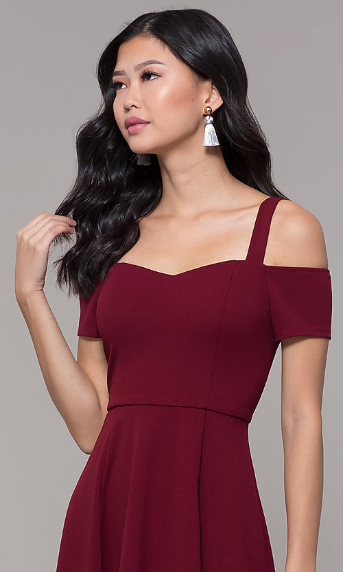 Image of short jersey cold-shoulder holiday dress by Simply. Style: MCR-SD-2529 Detail Image 1